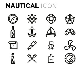 Vector line nautical icons set