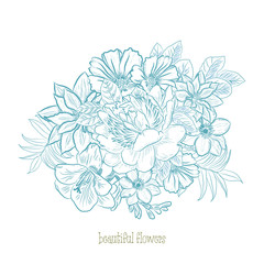 A beautiful bouquet of flowers in vintage style. Vector Botanical illustration. Elements for design flowers and leaves.