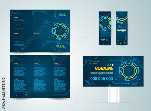 set flyer brochure banner design template futuristic hi tech stock