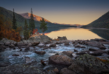 Wide And Calm Mountain River Turning To Fast Stream Sunset View, Altai Mountains Highland Nature Autumn Landscape Photo
