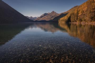 Shallow Mountain Lake With Mirror Like Surface , Altai Mountains Highland Nature Autumn Landscape Photo