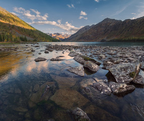 Rocky Lake Surrounded With Mountains Under Blue Sky, Altai Mountains Highland Nature Autumn Landscape Photo