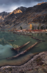 Blue Muddy Water Lake Surrounded By Mountains Reflecting The Sky, Altai Mountains Highland Nature Autumn Landscape Photo