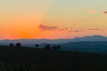 Mountains Farmlands Sunset