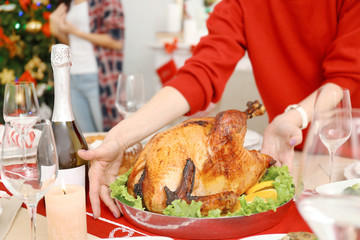 Woman serving turkey for Christmas dinner, close up view
