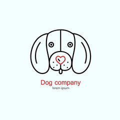 Single logo with a dog made in modern line style vector.