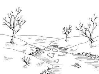 Spring river graphic black white landscape sketch illustration vector