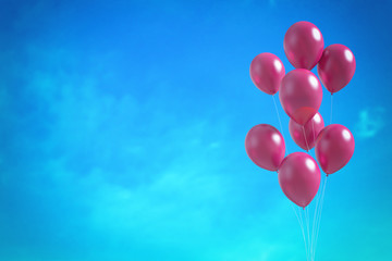 Red balloons on the blue sky background. 3D illustration