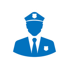 Icono plano silueta policia azul en fondo blanco