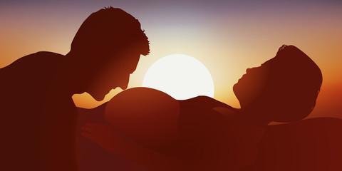 Femme enceinte - Couple - Coucher de soleil