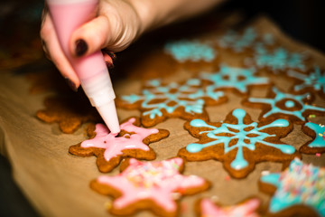 Making Gingerbread Cookies Series. Preparing and cutting dough s