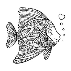 Funny fish for antistress coloring
