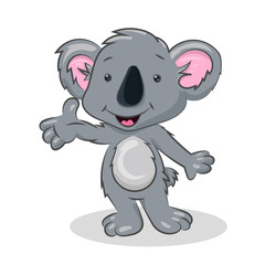 grey cartoon koala at the white background