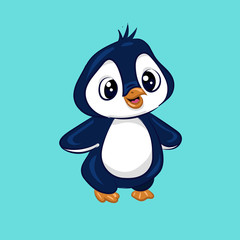 blue and white cartoon baby penguin at the white background