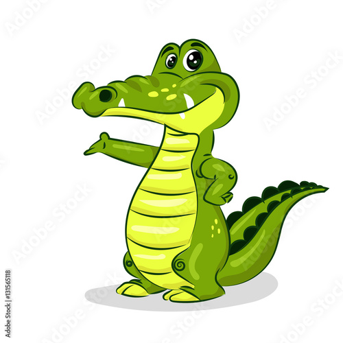 Quot Green Cartoon Crocodile At The White Background Quot Stock