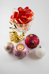Holiday vase with Christmas decorations