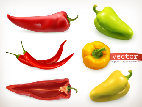 Pepper. Vegetable 3d vector icon set