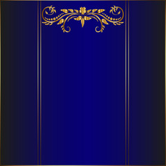 Blue card with golden border