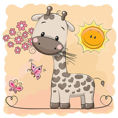 Giraffe with flowers and butterflies