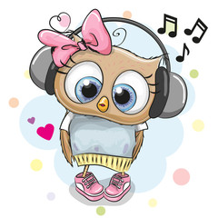 Owl Girl with headphones and hearts