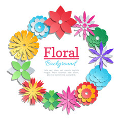 Wall Mural - Origami flowers invitation card. Vector paper cut floral design template