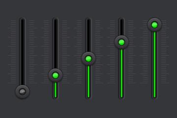 Black equalizer with green slider buttons