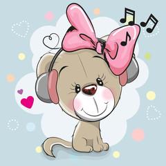 Cute cartoon Dog with headphones