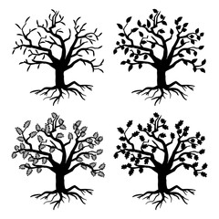 Wall Mural - Park old trees. Vector tree silhouettes with roots and leaves