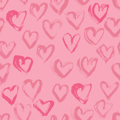 Abstract seamless heart pattern. Ink illustration. Pink romantic background