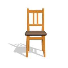 Chair.Isolated on white. 3d Vector illustration.Front view.