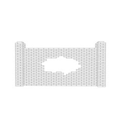 Broken brick fence. Isolated on white background. Vector outline