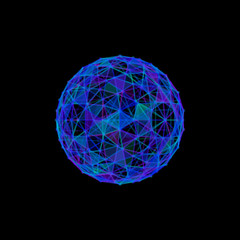 Abstract sphere from lines and dots.Isolated on black background