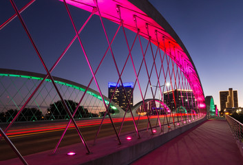 West 7th bridge Fort Worth with colored lights