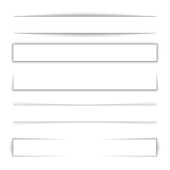 Page divider. Transparent realistic paper shadow effect set. Web banner. Element for advertising and promotional message isolated on background. Vector illustration for your design, template and site.