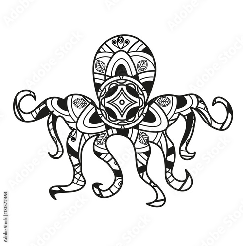 """Download """"Vector illustration of a black and white octopus mandala ..."""