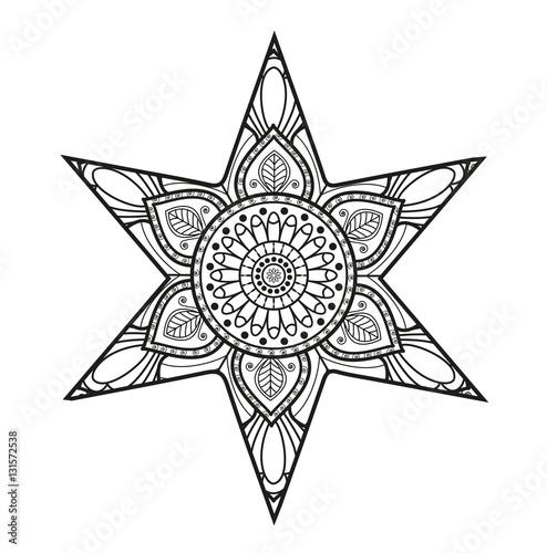 """""""vector illustration of black and white mandala star for"""
