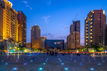 building of taichung city hall at night