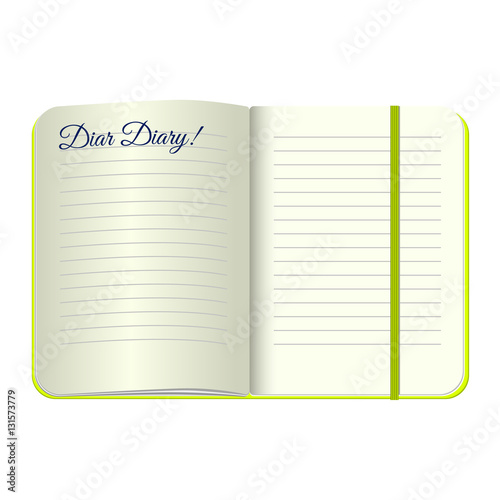Template Open A Blank Notepad With The Words Dear Diary Vector Personal