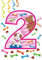 buon compleanno numero due rosa