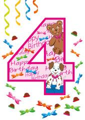 buon compleanno numero quattro rosa