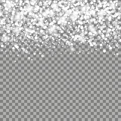 Realistic falling snowflakes. Isolated on transparent background Vector illustration, eps 10.