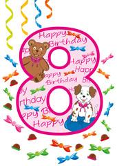 buon compleanno numero otto rosa