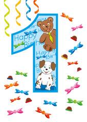 buon compleanno numero uno blu