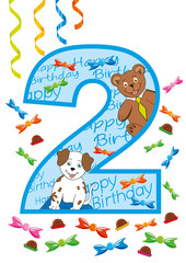 buon compleanno numero due blu