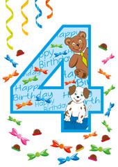 buon compleanno numero quattro blu