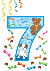 buon compleanno numero sette blu