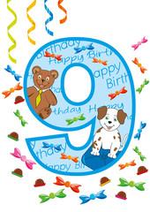 buon compleanno numero nove blu