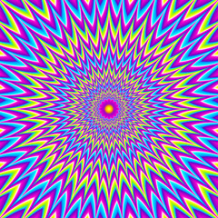 Iridescent background with purple flower. Optical expansion illusion.