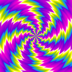 Iridescent background with spirals. Spin illusion.
