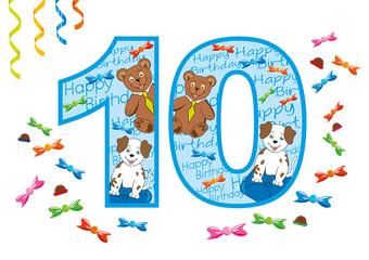 buon compleanno numero dieci blu